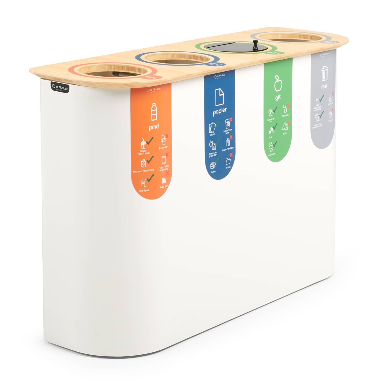 duurzame afvalbak scheiden kleuren vier compartimenten