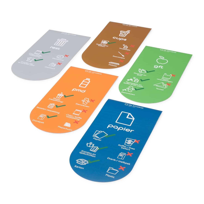 magneetbox 5 stuks communicatie afvalscheiding