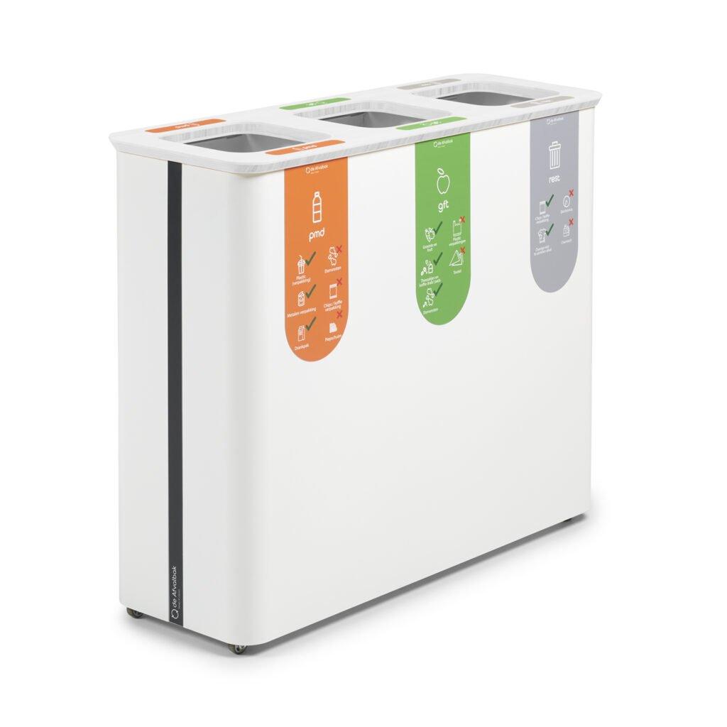drie compartimenten afvalbak kantoor duurzaamheid bedrijf afvalsysteem