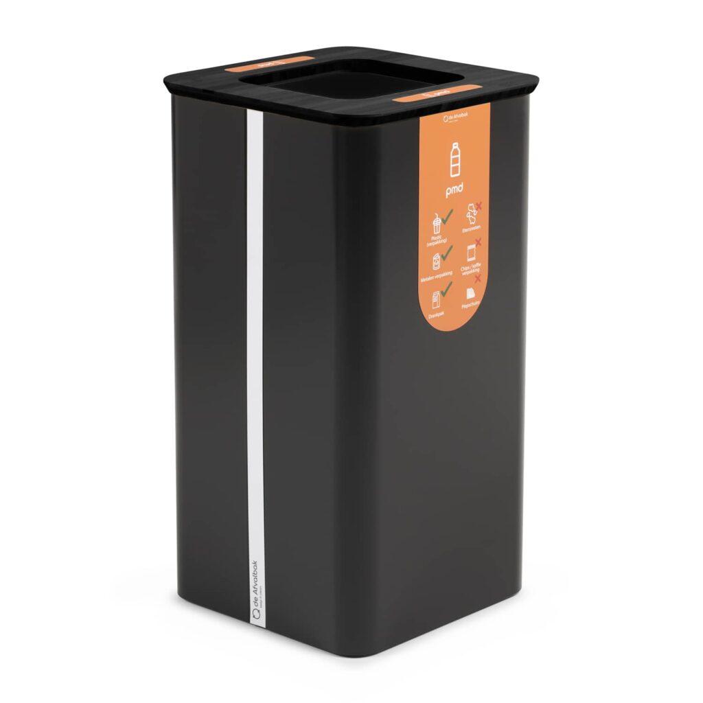 zwarte afvalbak kantoor capaciteit omvangrijk pmd